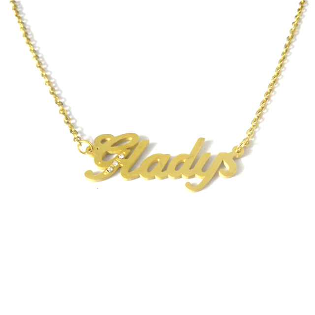 508321032 FairLadyHood Gladys Stainless Steel Personalized Custom Name Pendant  Necklace Customized Gold Necklace Handmade Birthday Gift