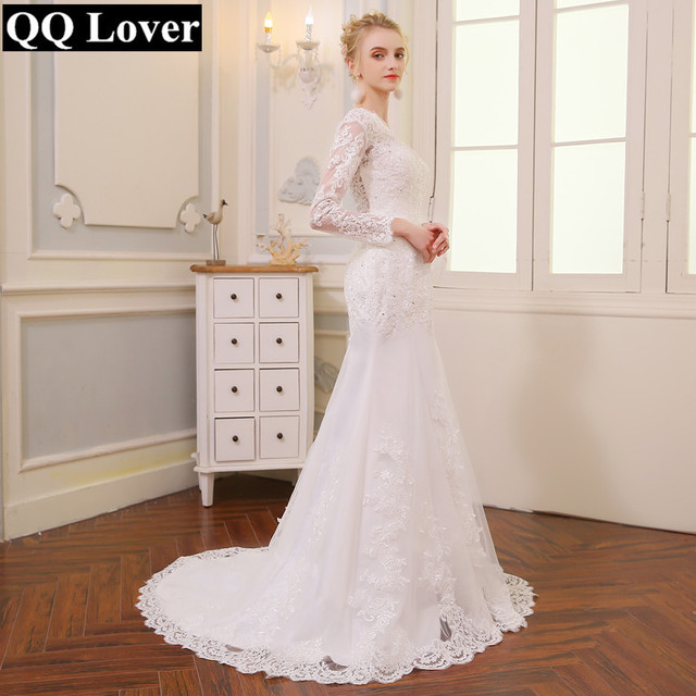 QQ Lover 2019 New Long Sleeve Mermaid Lace Wedding Dress 2018 Sexy V-neck Beaded Applique Wedding Bride Dress Vestido De Noiva