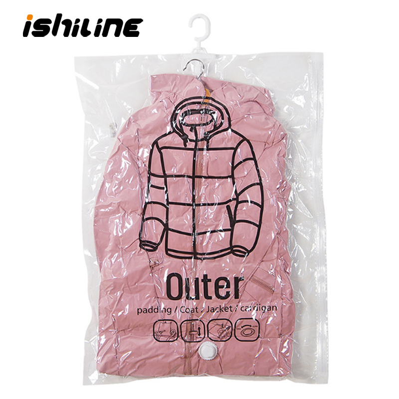 1pc Closet Hanging Organizer Vacuum Bag for Clothes Storage Bag with Hanger Space Saving Clear Seal Bags Wardrobe Compressed Bag