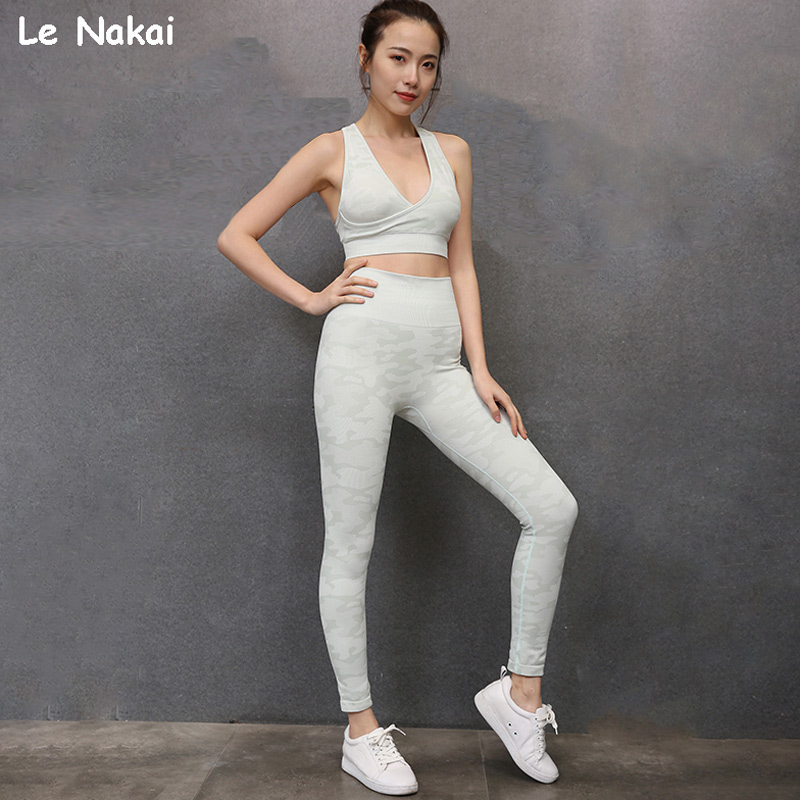New Camo Seamless Gym Set 2 pcs Jogging Tracksuit Camouflage Workout Fitness Set for Women Workout Seamless Set Sports Clothes 1