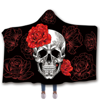Anti Samely Scarves & Wraps Hooded Blanket 3D Print peony skull hooded poncho scarf shawl manteau femme hiver