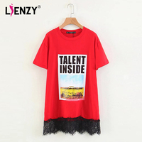 LIENZY Summer Casual Lace Patch Work T Shirt Female Tops Plus Size Harajuku Top Camiseta Feminine