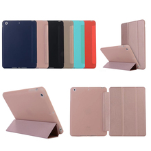 Case for iPad mini 1 2 3,  PU Leather Translucent Back Hybrid Soft Corner Slim Smart Cover color case for iPad mini 1 2 3