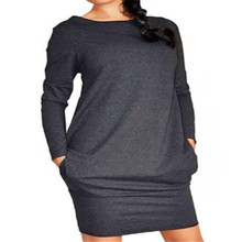 New Women clothes Sexy Dress Long Sleeve Bodycon round neck pullover cotton Bandage pocket Evening Club Party Dresses one piece