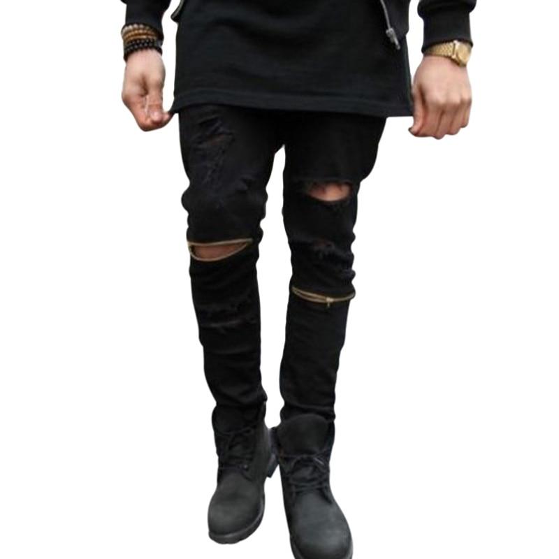 Black Ripped Jeans Men Pencil Pants Distressed Slim Biker Skinny Jeans Brand Fashion Hip Hop swag Tyga Hole Jeans Homme mens fashion designer skinny distressed slim jeans biker hip hop hole blue black elestic denim jeans ripped jeans for men