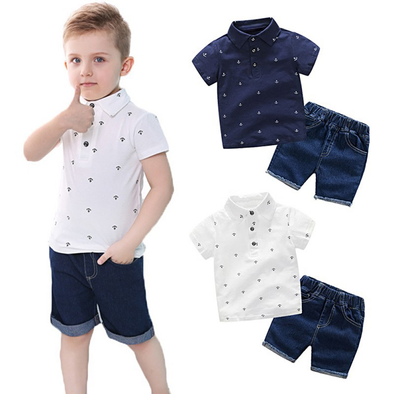 Baby Boys Clothing Sets Toddler Infant Kids Baby Boys T-shirt+Denium Shorts Pants Clothes Sets New Summer 2 Pcs new