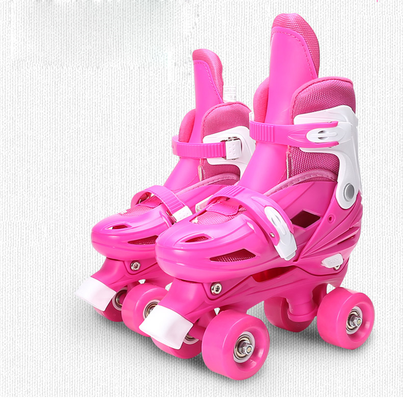 Kid's Roller Skates Size Adjustable Sneakers Double Row Skates For Children Two Line Skating Shoes Patines Red Blue Pink IB94 eur size 20 30 adjustable children roller skates 2 colors double row 4 wheels skating shoes kids two line toy patines gifts car