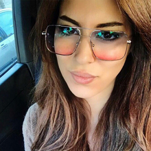 Oversized Square Sunglasses Women Luxury Brand Designer Frame Transparent Gradient Sun Glasses Men  Driving Eyewear UV400 shauna newest contrast color frame women sunglasses brand designer mixed color gradient square glasses