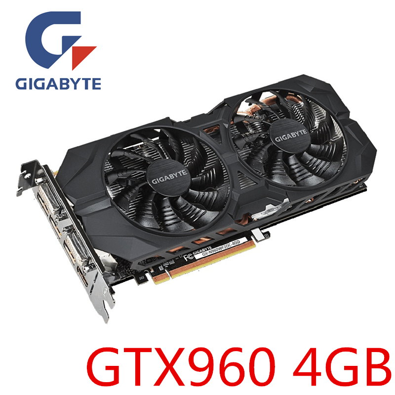 Carte graphique GIGABYTE d'origine GTX960 4GB 128Bit GDDR5 GPU Videocard cartes graphiques pour NVIDIA Geforce GV-N960WF2OC-4GD Hdmi Dvi