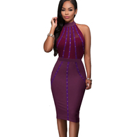 Fashion 2017 Sexy African Dresses Woman Pinup High Neck Bodycon Beaded Mesh Kim Kardashian Dresses In Moscow Kleider Purple XS