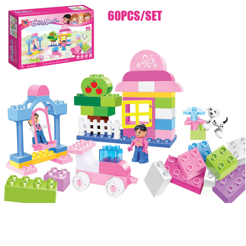 Kids Home Toy 60PCS Large Size Girls Dream Amusement Park Swing Paradise Model Building Block Bricks Toys Compatible With Duplo amusement park large particle building