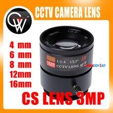 5 pz 3MP 4mm/6mm/8mm/12mm/16mm CS Lens 1/2. 5 F1.4 CS Fisso IR 3.0 Megapixel Obiettivo CCTV Per IR 720 P/1080 P CCTV Security fotocamera
