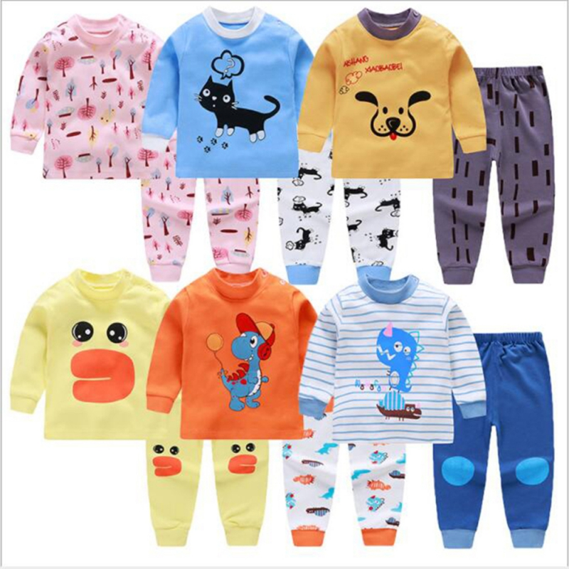 Autumn Winter Newborn Kids Boys Girls Long Sleeve Pajamas Sets Cartoon Cute Animals Pattern Cotton Comfortable Top+Trousers Sets