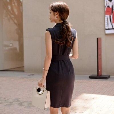 V Robe Ew Tempérament Slim Ol breasted Dames De Féminine Mode 2 Double 1 cou Y7gymbf6vI