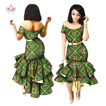 2019 New African Wax Print Dresses for Women Bazin Riche Cotton Party Dress Dashiki Sexy African Fashion Clothing WY2205 5