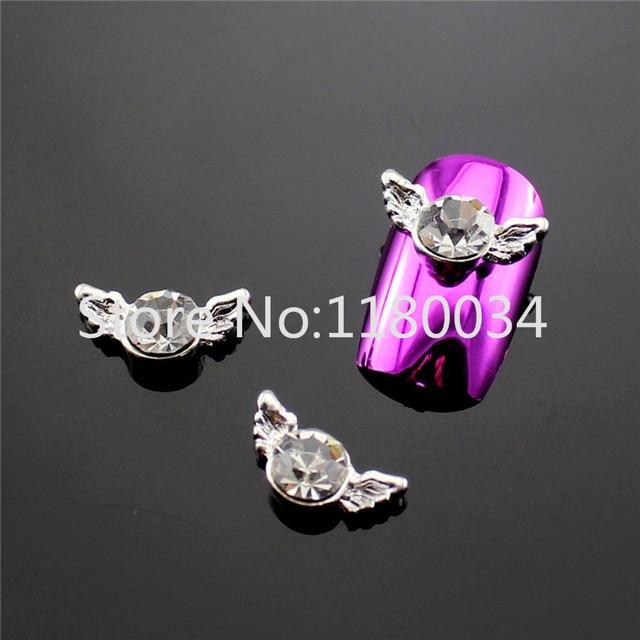 5 12mm 3d Glitters Romantic Silver Angel Wings Circular Rhinestones