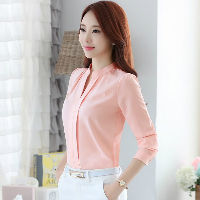 6b005f6f5f8 2019 women solid color blouse shirt ladies slim fashion summer elegant casual  tops clothes 861B 25-in Blouses   Shirts from Women s Clothing on ...