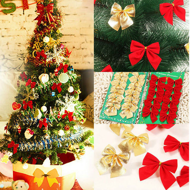 12pcs/bag Christmas Bows Christmas Tree Decorations Red Gold Bow ...