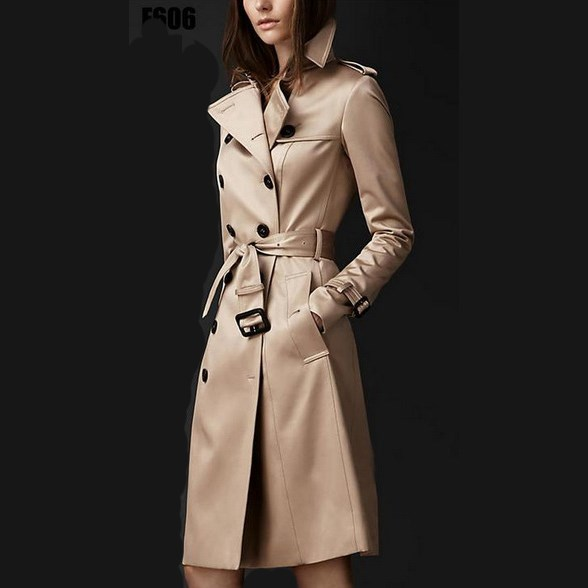 2018 Autumn New Fashion Women Slim   Trench   Coat Europe Style Windbreaker Trend Coat Button Double-Breasted Long   Trench   Coat