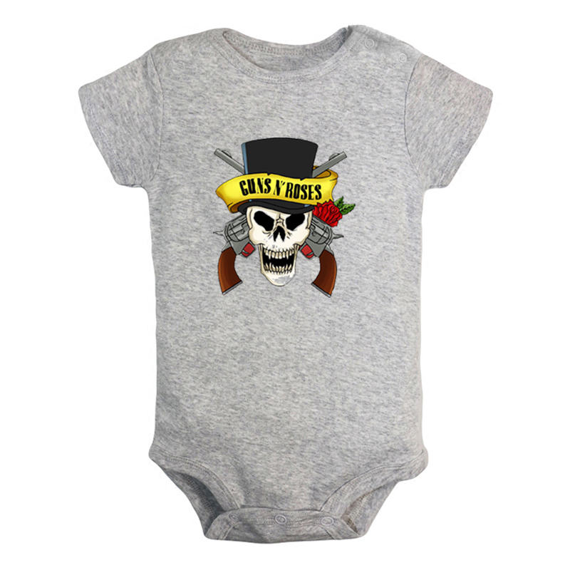 Guns N' Roses Rock Band <font><b>Newborn</b></font> <font><b>Baby</b></font> Girl Boys Clothes <font><b>Short</b></font> <font><b>Sleeve</b></font> Romper Jumpsuit Outfits 100% <font><b>Cotton</b></font> image