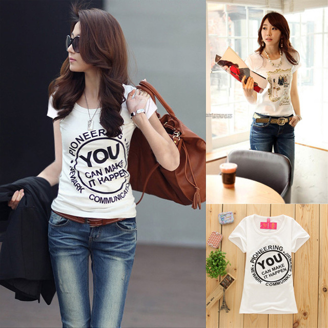 b85f51fe00 Korean style fashion t shirt women tops 40 pattern cotton regular girl tees  slim type o-neck short sleeves summer clothes TW13 A