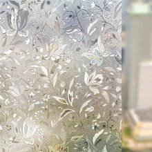 90*200cm 3D Laser Tulip Static Window Privacy Film Glass Sticker Frosted bedroom door Anti-UV Home Decorative for furniture