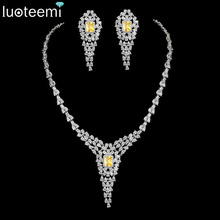 LUOTEEMI New Vintage Statement Cubic Zircon Long Necklace Elegant Crystal White Gold-Color For Women jewelry Accessories 4 Color