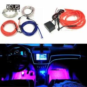 Image 3 - JURUS 10 sztuk Car Styling oświetlenie otoczenia oświetlenie wnętrza samochodu akcesoria do Auto LED Strip lampa 12V falownik rura linowa linia Lmap