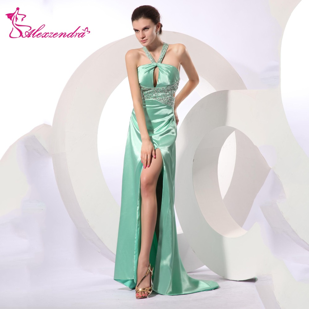 Alexzendra Light Green Halter Up Beaded Long Prom Dresses Evening Gown Natural Waist Flo ...