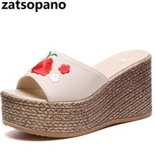 2018 Summer Girl Fashion Brand Shoes 9CM Women Satin Rose Slipper Lady  Beach Slides Flower Leisure 0fe8c36a75a8