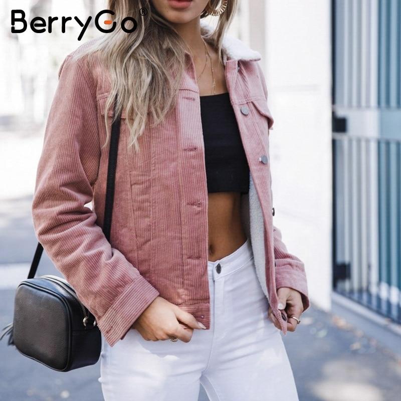 BerryGo 2018 חורף נשים מעיל מעיל צמר כבשים בסיסי מעילי קורדרוי גבירותיי ארוך שרוול להנמיך צווארון חם חורף עבה מעיל