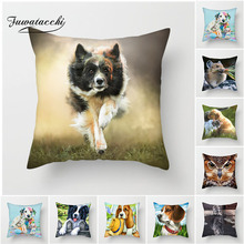 Fuwatacchi Cute Dogs and Cats Cushion Cover Eagle Owl Pillow for Sofa Home Chair Decor Animals Decorative Pillows 45*45cm