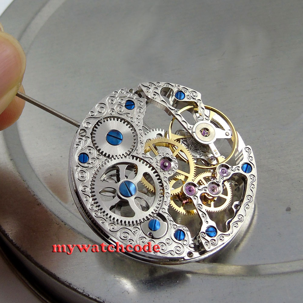 17 Jewels silver Full Skeleton 6497 Hand Winding movement fit parnis watch M5 цена и фото