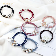 Head jewelry new version of Europe and the United States fashion wild pearl hair ring classic style rope tie rubber band