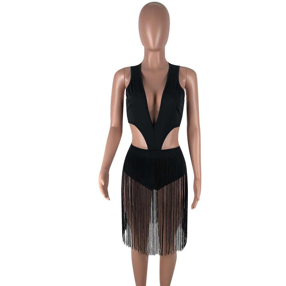 Mono Sexy con borlas para mujer con cuello en V sin mangas con corte de vendaje de una pieza overol verano playa vacaciones Romper Fiesta Club trajes