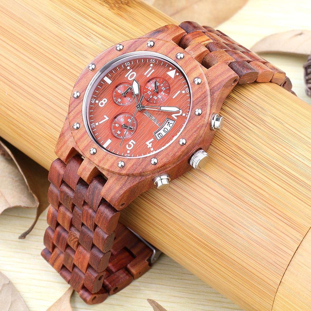 BEWELL Wood Watch Mens Watches Top Brand Luxury Designer Military Watch Quartz Analog Wrist Watch with Chronograph Calendar Date 8