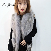 ST.Jessi 2019 Chalecos Mujer Genuine Rabbit Fur Vest Coat Tassels Raccoon Collar Trimming WaistCoat Wholesale Free Shipping