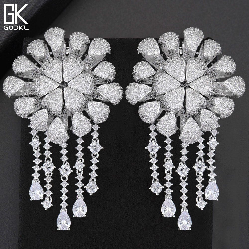 GODKI 72mm Luxury Daisy Flower Nigerian Tassels Long Dangle Earring For Women Wedding Zircon Crystal Dubai