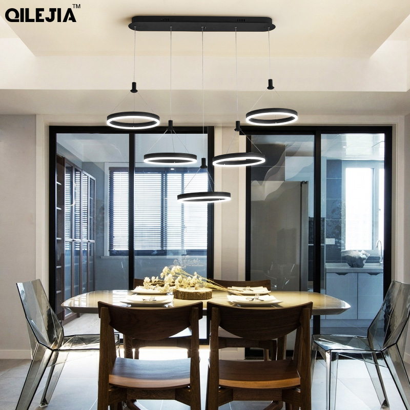 Us 46 97 39 Off Black Led Pendant Lamps For Dinning Room Acrylic Round Circle Hanging Lamp Modern Dining Kitchen Light Ac85 265 In