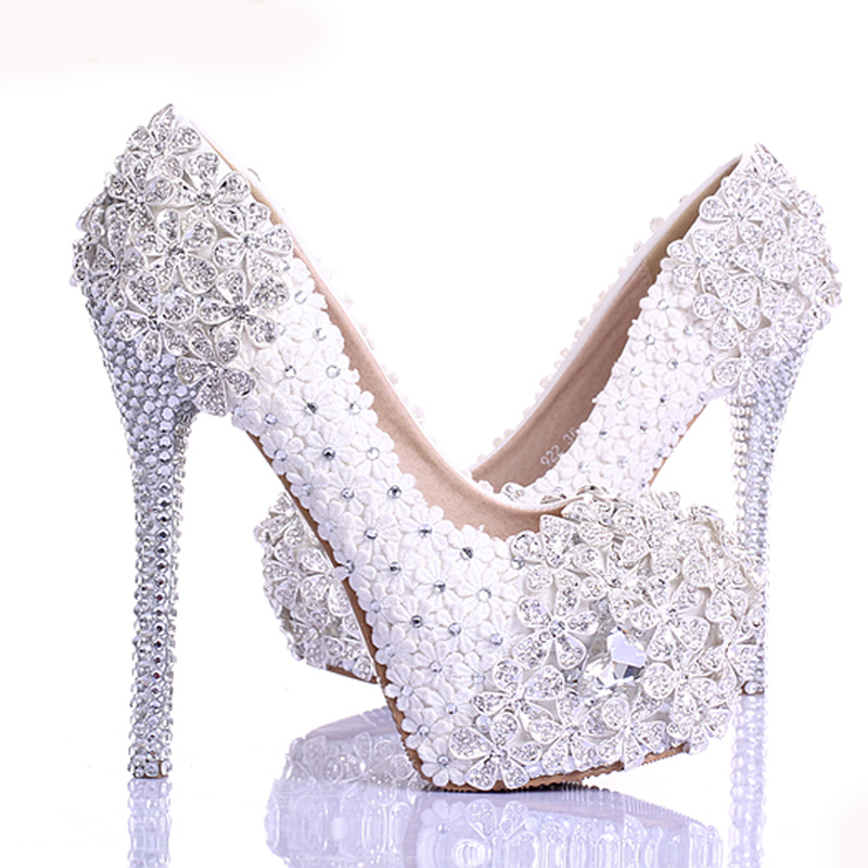 Spring White Lace Flower Rhinestone Wedding Shoes 2015 Newest Design Luxury Handmade High Heel Bridal Shoes