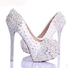 Spring White Lace Flower Rhinestone Wedding Shoes 2015 Newest Design Luxury Handmade High Heel Bridal Shoes Evening Prom Pumps