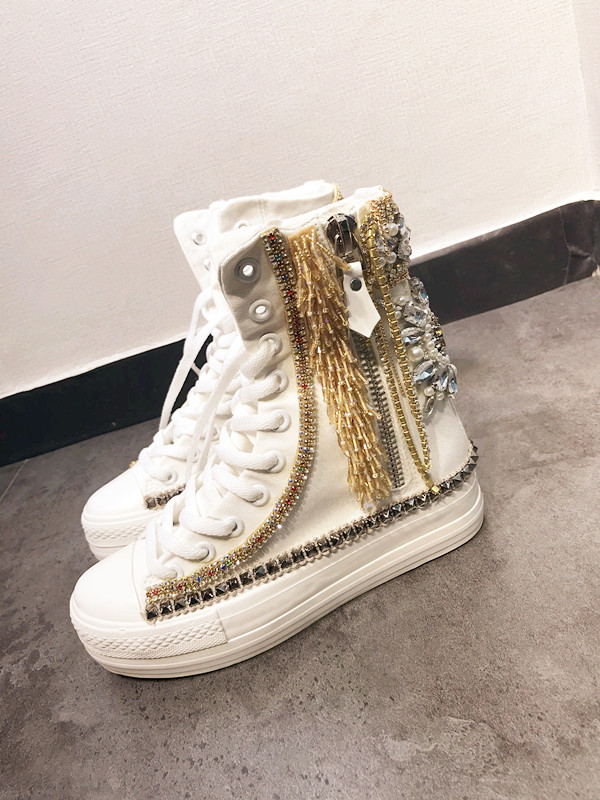 Shiny Luxury Crystal Mid calf Boots Gold Tassle Height Increasing Internal Canvas Motorcycle Boots for Girls