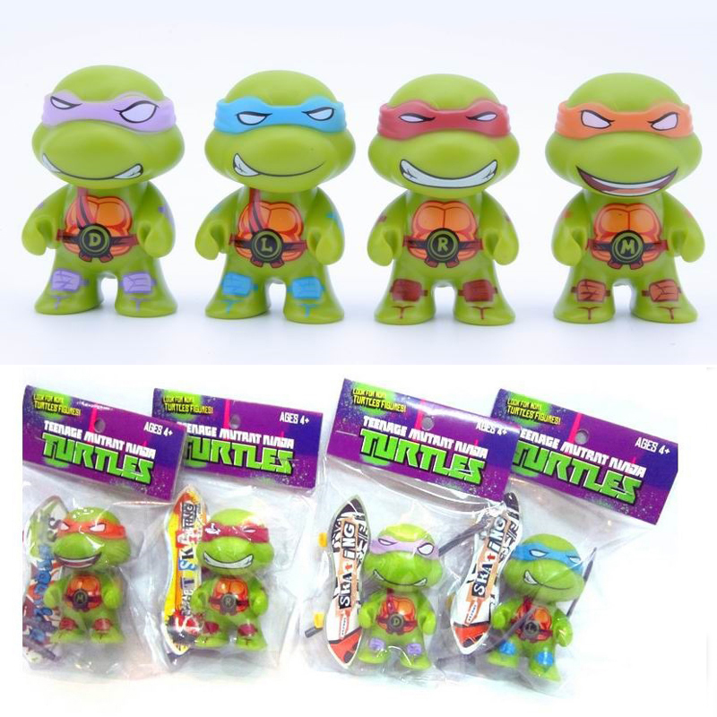 Newest <font><b>Teenage</b></font> <font><b>Mutant</b></font> <font><b>Ninja</b></font> <font><b>Turtles</b></font> With <font><b>Mini</b></font> Fingerboard Figures Action <font><b>TMNT</b></font> Figure Toys Dolls Raphael <font><b>Turtles</b></font> 8pcs/<font><b>lot</b></font>