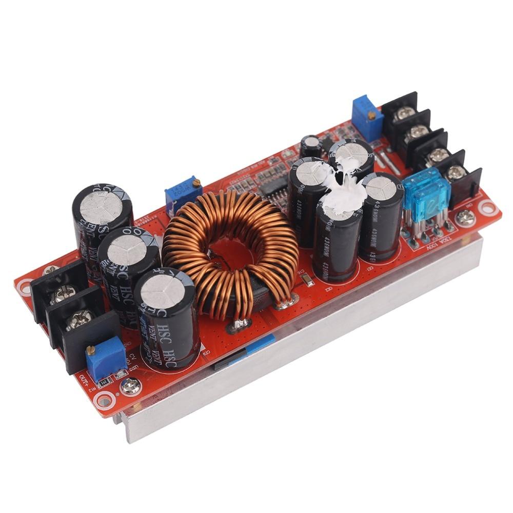 Professional 1200W DC-DC Boost Converter Power Supply 8-60V 12V Step Up to 12-83V 24V 48 With Large Heat Sink Design