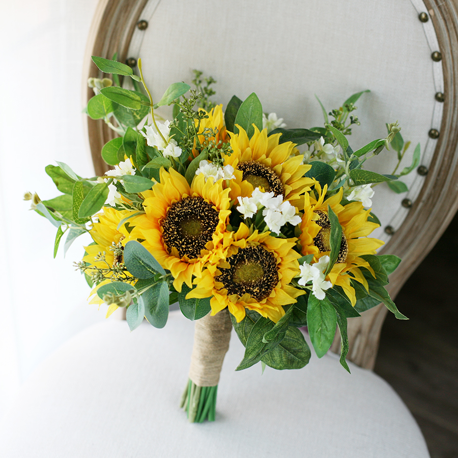 2019 New Design Country Bridal Bouquet Yellow Sunflower