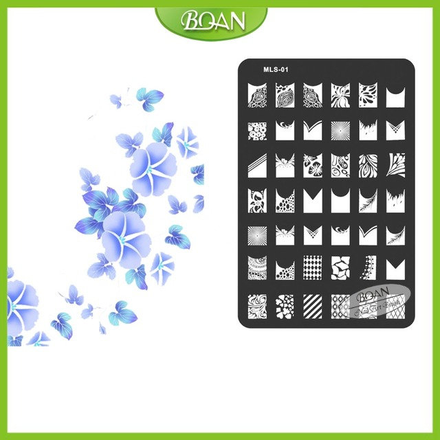 Envío Gratis Noble Flor de Acero 10 Unids/set BQANStainless Nail Plate Estampación Kit MLS01