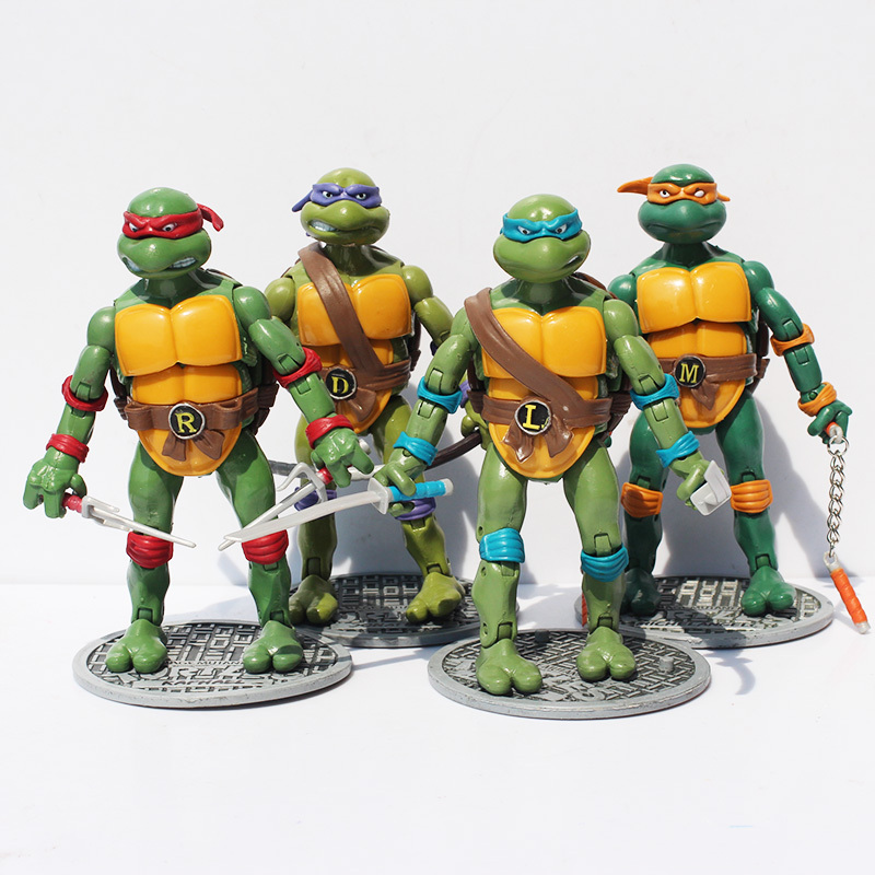 New 4pcs/set 17cm TMNT <font><b>Teenage</b></font> <font><b>Mutant</b></font> <font><b>Ninja</b></font> <font><b>Turtles</b></font> PVC Action Figures Toy Collective Dolls Gift For Children Free Shipping