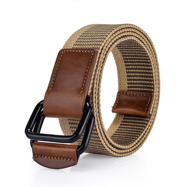 ca4d0ad462993 Haute qualité Designer homme mode ceinture décontractée en toile pour Jeans  femme Double D anneau couture