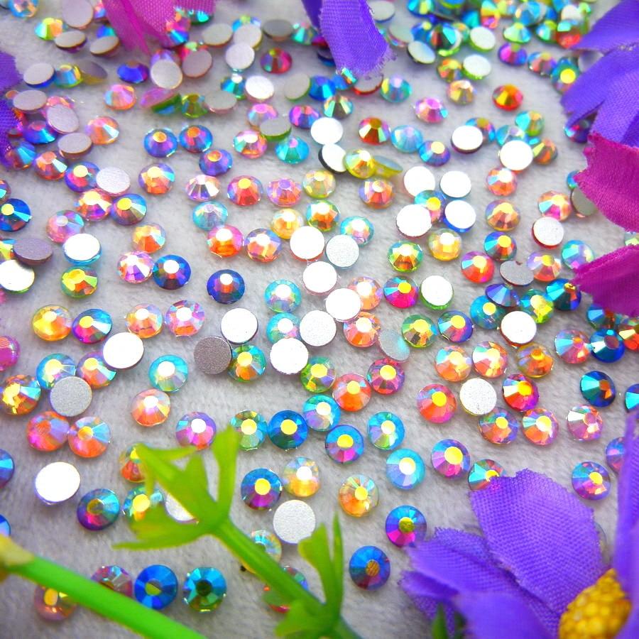 üveg Kristály Nonhotfix AB színek 10 Méretek SS3-SS30 sík hátsó kerek strasszos gyöngyök Ragasztó a körömdíszítéshez