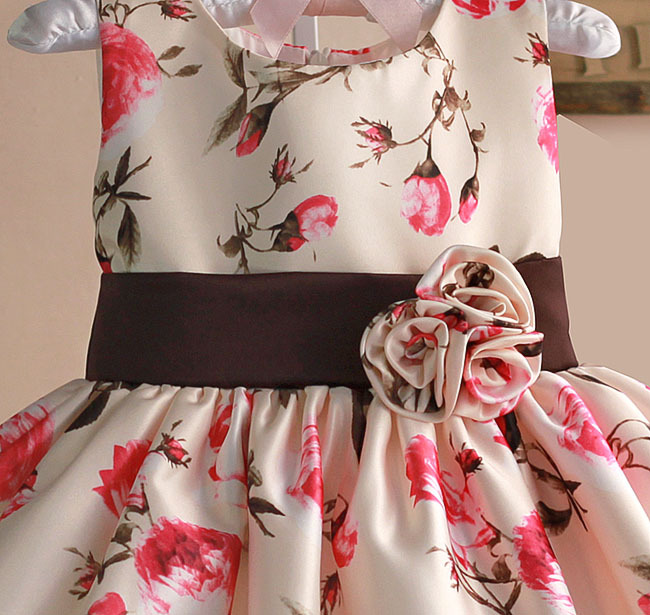 6db3e256b New Girls Party Dress Rose Floral Tribute Silk Kids Dresses for Girls  Birthday Wedding Infant Formal Clothes-in Dresses from Mother & Kids on  Aliexpress.com ...